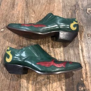 Nine West Green Leather Short Cowboy Boots 8.5